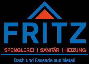Logo der Firma Fritz in Blau und Rot mit Slogan.